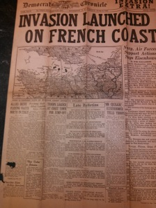 Front page of Rochester, N.Y. newspaper on June 6, 1944. The newspaper belonged to Marion Lane.