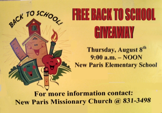 Phone: (574) 831-2196 Fax: (574) 831-3160 Address:  New Paris Elementary School is located at  18665 C.R. 46, New Paris, IN. Call 831-2196 for more information.