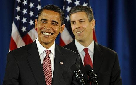 President Barack Obama and  Secretary of Education, Arne Duncan Announce Race to the Top, an education reform backed by historic levels of financial support.