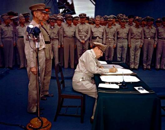 Gen. Douglas MacArthur accepts Japanese surrender, USS Missouri, Tokyo Bay, September 2, 1945.