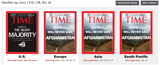 The Oct. 24 edition of Time magazine suggests that U.S. foreign policy is of more importance to foreigners than to Americans. Or perhaps the front page headline wasn't optimistic enough over the job the President in charge was doing overseas?